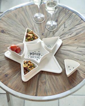 Stjerne fad m. skåle - Merry Snacking Party Plate