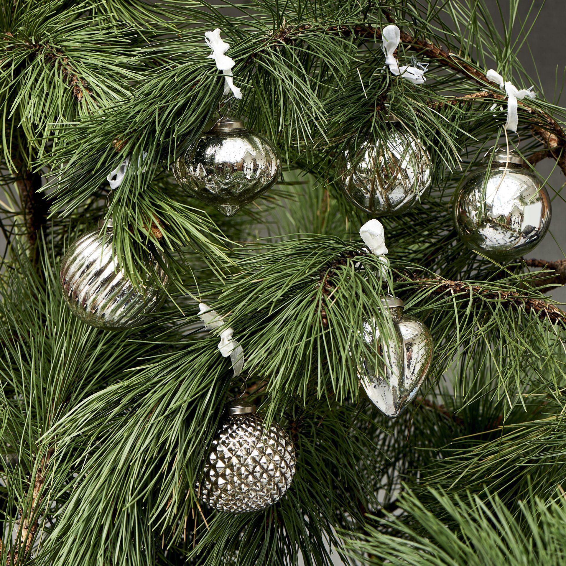 12 stk. Sølv julekugler – Happy Holiday Orn. sølv 12 pcs