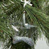 Glas stjerne - Little Sparkle Star Orn. silver M