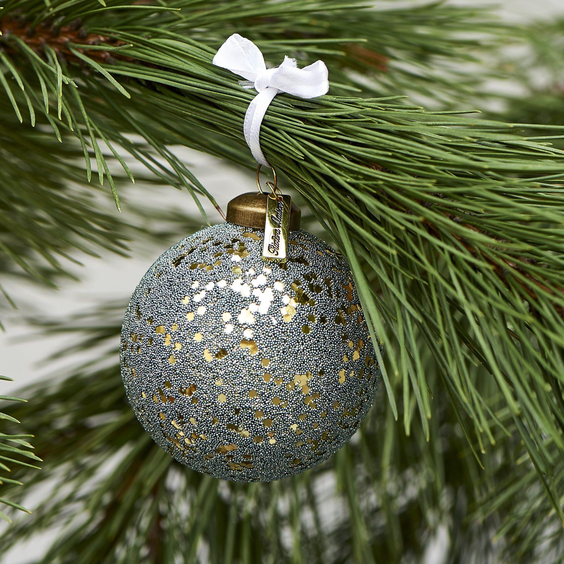 Grøn/guld julekugle – Merry Everything Ornament Dia 8