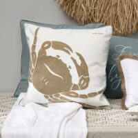 Pude inkl. fyld - Happy Crab Pillow, white 50x50