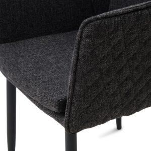 Megan Dining Armchair Black Leg, mélane weave, carbon - BESTILLINGSVARER