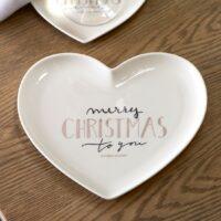 Hjerte tallerken - Merry Christmas Heart Plate M