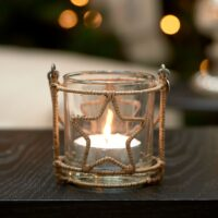 Lysestage - Rustic Rattan Christmas Star Votive