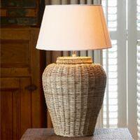 Lampefod i rattan - Rustic Rattan Grand Lobby Lamp Base L