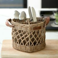 Bestik kurv - Rustic Rattan Utensils Holder Heart
