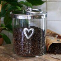 Glaskrukke - Heart Metal Storage Jar