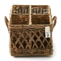 Kruv m. 4 rum - Rustic Rattan Couvert Basket Square