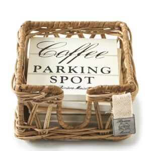 Glasbrikker i kurv - Parking Spot Coasters