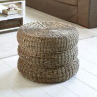 Fodskammel - Rustic Rattan Macaron Footstool
