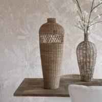Rustic Rattan Cross Weave Vase