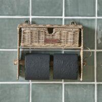 Toiletpapir holder - Rustic Rattan Toilet Roll Organiser UDSOLGT, KOMMER IGEN