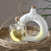 Olieflaske - Olio D'Oliva Oil Bottle - hvid porcelæn