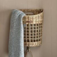 Kurv - Rustic Rattan Pretty Single Basket With Hook