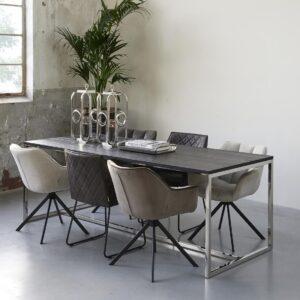 Spisestuestol - Carnaby Dining Armchair Turning Leg, mouliné linen, fabulous flax BESTILLINGSVARER