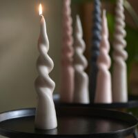 Bloklys - Twisted Cone Candle Flax H25