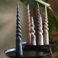 Bloklys - Twisted Cone Candle d.grey h.35